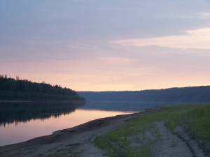Pink sunset on the Peace River