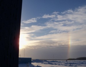 Ice crystals causing parhelia around the sun