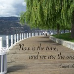 Now is the time and we are the ones. - Ernest Holmes